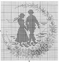Pareja-2 Crochet Designs, Crochet Patterns, Embroidery Patterns, Cross Stitch Patterns, Cross Stitch Silhouette, Fillet Crochet, Cross Stitching, Blackwork, Needlepoint