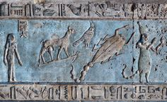 [EGYPT 'Astronomical ceiling in Hathor Temple at Dendera.' Looking up in the outer hypostyle hall of the Hathor Temple at Dendera gives you a dazzling view of the astronomical ceiling. It is a mysterious world inhabited by star gods and zodiac sig Ancient Egyptian Art, Ancient History, Fresco, Tempera, Zodiac Signs Scorpio, Weird Creatures, Gods And Goddesses, Archaeology, Painting