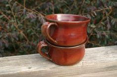 2 Ceramic Pottery Soup Bowl with Rusty Red Glaze by Beaverspottery, $32.00