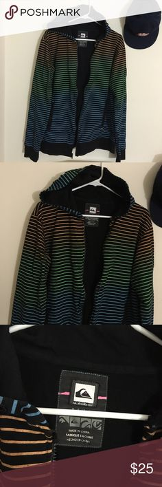QUICKSILVER Striped Hoodie Long sleeve  Hooded  Zipper up front  Two front pockets  Lined black  100% Cotton  Size Medium  Length: 27in    Condition: No wear, tears or stains.   ☑️No Pets  ☑️Non-Smoking home  ☑️Every item steamed throughly before shipped!  💌 Ships from Santa Monica, CA  🗝Follow me on Instagram! @koukil1908 ask to have a video of the item ✌️ Quicksilver Tops Sweatshirts & Hoodies