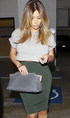 Kim kardashian. Crop top and pencil skirt, love the simplicity. Obsessed