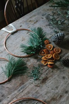 DIY Minimalistic Copper Holiday Wreath - A Daily Something Christmas Time Is Here, Christmas Minis, Country Christmas, All Things Christmas, Merry Christmas, Scandinavian Holidays, Christmas Greenery, Minimalist Christmas, Yule Decorations