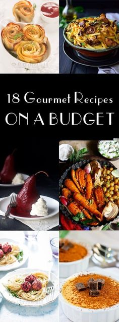 Gourmet Recipes on a BUDGET - Champagne Tastes - - These 18 Gourmet Recipes on a Budget feature gourmet-style recipes that are full of flavor and style, but won't hurt your wallet! Gourmet Cooking, Cooking On A Budget, Budget Meals, Gourmet Recipes, Cooking Recipes, Gourmet Meals, Juice Recipes, Party Recipes, Healthy Cooking