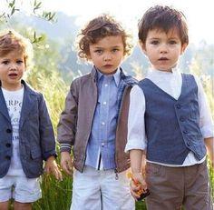little gents a la Benetton! So cute little boys clothing. Totally my style. Fashion Kids, Little Boy Fashion, Baby Boy Fashion, Man Fashion, Trendy Fashion, Winter Fashion, Baby Outfits, Kids Outfits, Cute Kids