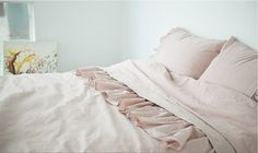 Washed And Naturally Dyed Frill Ornamented Off-Pink Colored Twin / Queen Size Bedding Set