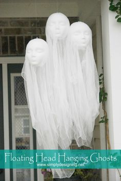 Floating Head Hanging Ghosts. So simple and easy to make these really creepy and spooky Floating Head Hanging Ghosts! They make the perfect DIY for any Halloween decor!