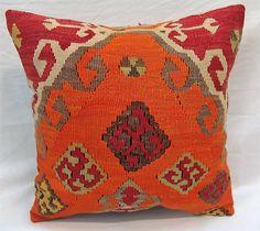 coussin kilim spécial coussin orange, traditionnel anatolien laine Kilim taie d
