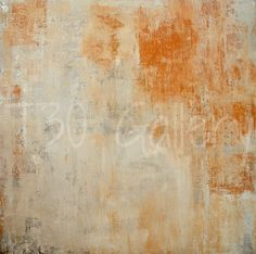 Original Artwork, 2014 - Acrylic Modern Abstract Painting Wall Decorative Free Shipping Orange Beige White 24x24 Canvas