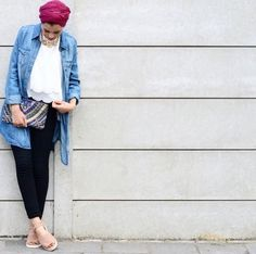 denim chemise turban style-Eid hijab outfits for trendy girls – Just Trendy Girls
