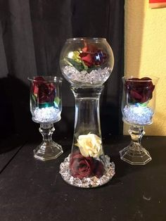 Wine Glass Crafts, Jar Crafts, Diy And Crafts, Candle Centerpieces, Christmas Centerpieces, Wedding Centerpieces, Dollar Tree Decor, Dollar Tree Crafts, Valentine Crafts