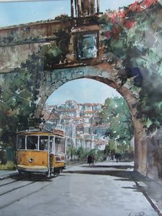 Cunha Rocha - Aguarela - Coimbra (Arcos do Jardim) Watercolor Landscape, Watercolor Paintings, Watercolours, Portugal, Art Drawings, Inspiration, Landscapes, Future, Etchings