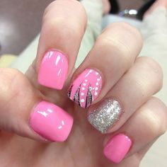 pink and silver nails With Some Tiger Stripes ? !