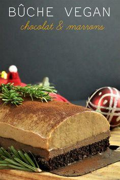 Bûche de Noël vegan au chocolat et aux marrons