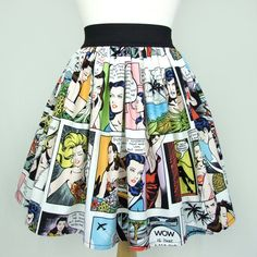 On Pinup Comic Strip Skirt Vintage Inspired Skirt Lt White ($36) ❤ liked on Polyvore featuring skirts, bottoms, grey, women's clothing, gray skirt, grey skirt, women skirts, comic book and elastic skirt