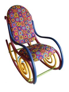 redesigned Thonet rocking chair, painting on furniture, retro modern