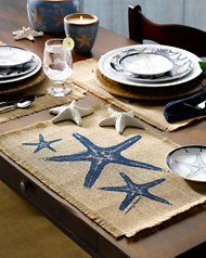 Burlap Starfish Placemat...{CH Note: I want to make burlap placemats or runner for Thanksgiving!}
