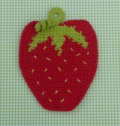 Strawberry Potholder Crochet PATTERN