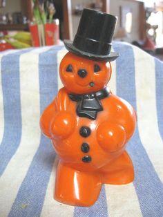 Very RARE 1950s Vtg Halloween Orange Christmas Plastic Snowman Candy Container | eBay