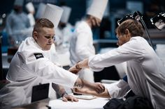 Team Denmark ready to begin : Rasmus Kofoed is helping the commis to be ready just on time ! #roadtolyon #bocusedor #transmission Bocuse Dor, Denmark, Chef Jackets, Europe