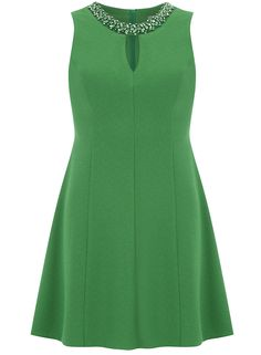 Petite green crepe fit and flare dress