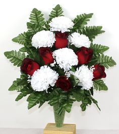Gorgeous Roses And Carnations Cemetery Arrangement For Mausoleum, $23.99