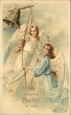 Easter Angels Ring Bell Embossed Greeting c1910 Postcard | eBay