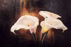 painted pictures of purple cala lilies | Carl Schlademan Premium Art Listing
