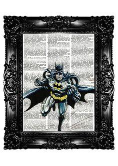 BATMAN Super Hero Upcycled Book Dictionary Art Print Art Prints Vintage Book Print Vintage Book Page Nursery Art Buy 3 get 4th free. $7.99, via Etsy.