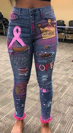 Women Jeans Ripped Vintage Denim Breast Cancer Awareness Support - Hoco Shirts - ideas of Hoco Shirts - Diy Jeans, Diy Ripped Jeans, Women's Jeans, Painted Jeans, Painted Clothes, Hand Painted, Diy Fashion, Ideias Fashion, Fashion Outfits