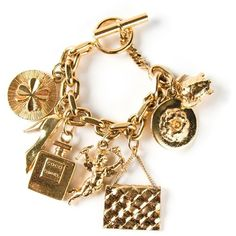 Chanel Vintage charms bracelet ($2,115) ❤ liked on Polyvore featuring jewelry, bracelets, chanel, accessories, pulseiras, metallic, gold turtle charm, turtle charm bracelet, gold charm bracelet and turtle charm