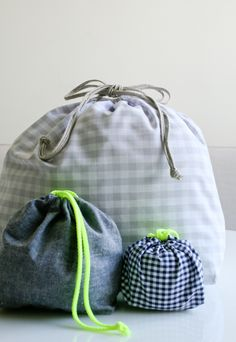 DIY Drawstring Bag from the Purl Bee via Martha Stewart. I'd love to embroider on these and use them for travel for socks, shoes, etc.