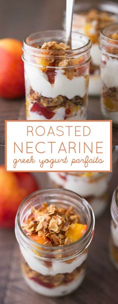 These delicious Roasted Nectarine Greek Yogurt Parfaits are simply made with fresh, juicy nectarines, homemade vanilla almond granola and Greek yogurt. | Small Green Kitchen