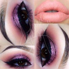 Crease: Peach Smoothie  Cupcake by @makeupgeektv -Outer V: Brulesque @makeupgeektv -Lid: Enchanted pigment by @makeupgeektv