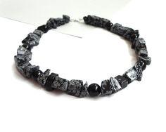 Chunky stone necklace statement snowflake obsidian onyx by tline