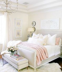 Glam Blush + Gold Spring Bedroom - Randi Garrett Design on Home Inteior Ideas 1015 Master Bedroom Design, Home Decor Bedroom, Bedroom Furniture, Bedroom Designs, Modern Bedroom, Diy Bedroom, Master Bedrooms, Furniture Ideas, Pink Master Bedroom