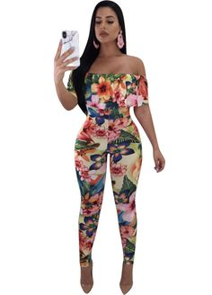 Floral Print Off The Shoulder Fitted Jumpsuit_Jumpsuit & Rompers_Women Clothes_Sexy Lingeire | Cheap Plus Size Lingerie At Wholesale Price | Feelovely.com