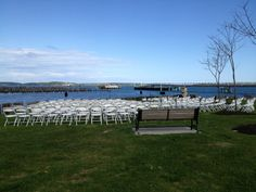 The wedding ceremony set-up next to The Ocean Gateway in Portland, Maine on May 18, 2013. Maine Wedding DJ Dave Dionne. www.djsmaine.com www.facebook.com/djsmaine www.twitter.com/djsmaine