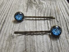 Legend of Zelda hair pins flying triforce blue by MontanaMagic, $9.50