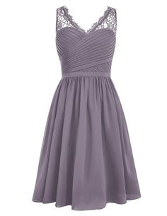 Dresstells® V Neck Chiffon Prom Dress with Lace Bridesmaid Dress Evening Party Dress