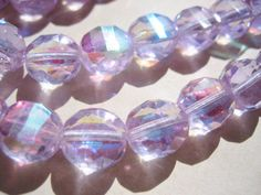 VIntage beads  glass  faceted Czech lavender purple AB aurora borealis 10mm (8)