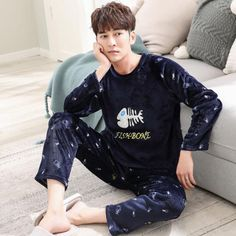171cdcf2a9 Men s Pajamas Set Autumn and Winter Coral Fleece Thin Cartoon Flannel Warm  Pajamas Men s Long Sleeve Youth Home Service Suit
