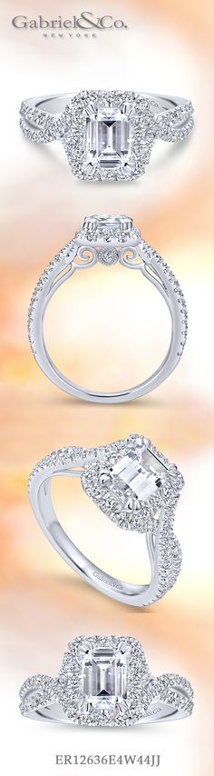 Gabriel & Co. - Voted #1 Most Preferred Bridal Brand.   A luxurious pave diamond halo embraces the emerald cut center stone at the heart of this sensational engagement ring.