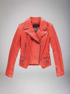LOVING this coral moto jacket.