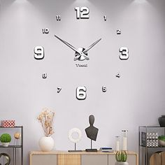 Mintime Modern Frameless DIY Wall Clock Large Wall Watch Mirror Numbers for Home Office Decorations Warranty) Large Wall Stickers, Wall Watch, School Decorations, 3d Wall, Clock, Amazon, Modern, Diy, Pictures
