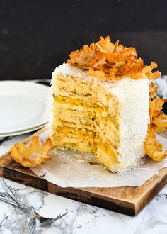 The moonblush Baker: Just Smile /-/ Layered Passion fruit Butter Cake with Coconut Cream Frosting and Pineapple flowers Pineapple Flowers, Pineapple Cake, Baking Recipes, Cake Recipes, Coconut Recipes, Passion Fruit Cake, Coconut Cream Frosting, Fruit Leather Recipe, Dessert Blog