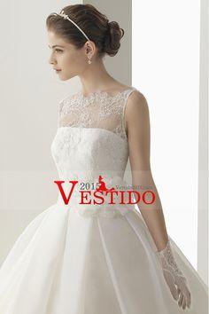 2014 Encaje romántico vestido de novia de la blusa una línea de recogida Falda de organza de cola de la catedral con la flor