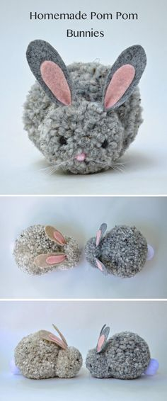 Homemade pom-pom bunnies | Cute and easy to make pom pom bunnies.