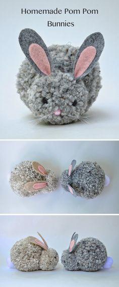 Homemade pom-pom bunnies   Cute and easy to make pom pom bunnies.