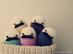Crochet eggs with Lil' Mustache's! Perfect for play kitchens... ♥ By Little Yarn Friends