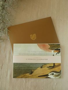 booklet in the welcome box also featured imagery from the Audubon bird book and a gold metallic envelope